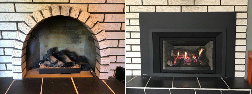Of an arched fireplace or mask the arch you already have theres a fireplace faceplate for that pictured regency liberty lri4e gas fireplace insert
