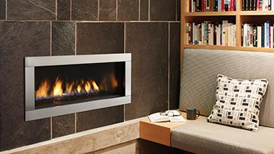 Small direct vent contemporary fireplace. 