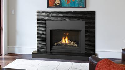 Medium direct vent contemporary fireplace, in a clean louver-less design. Available with a surround or clean edge finish.