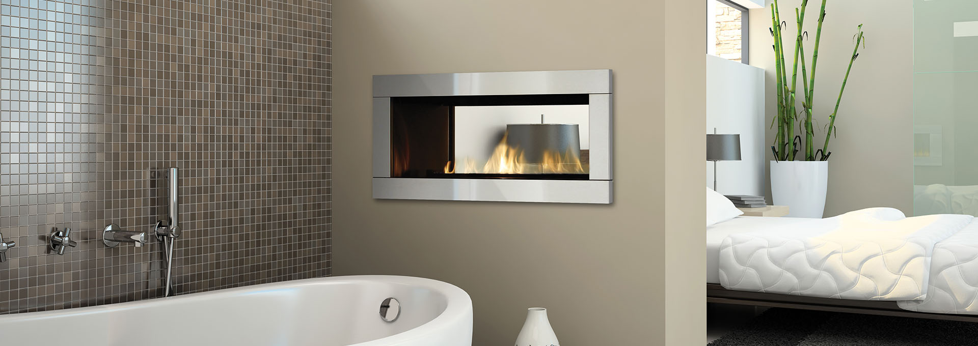 See Through Gas Fireplace Price Part - 37: Shown With Brushed Stainless Steel Faceplate And Black Enamel Reflective  Panels