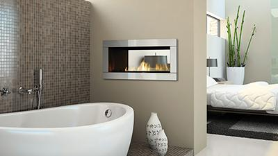 "Medium direct vent contemporary fireplace, 44"" with faceplate installation.  See Through Fireplace that offers two viewing angles for indoor/indoor use."