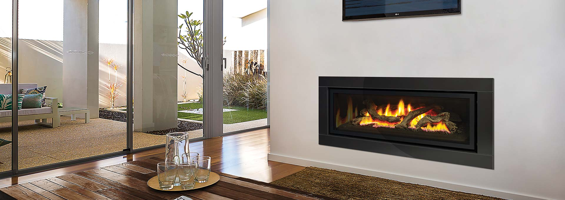 Contemporary Gas Fireplaces Portrait Linear Gas Fireplaces