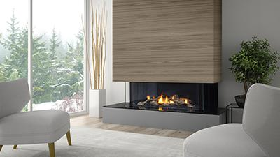 CB40E frameless 3-sided gas fireplace