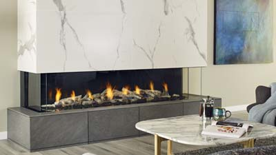 San Francisco Bay 72  three sided fireplace creates a stunning focal point that shows off the fire from multiple angles in the room.