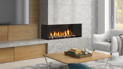 The Regency City Series Chicago corner two sided gas fireplace allows you to have design flexibility creating multiple views from either side of the room.