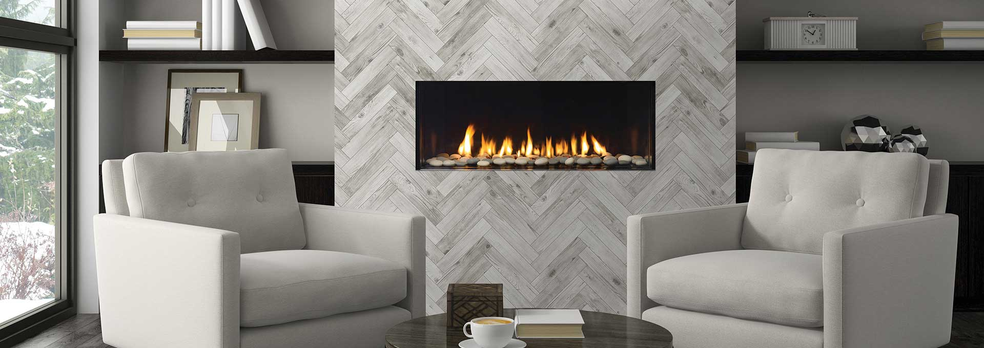 over gas pin natural stones mounted fireplace grey stone tv