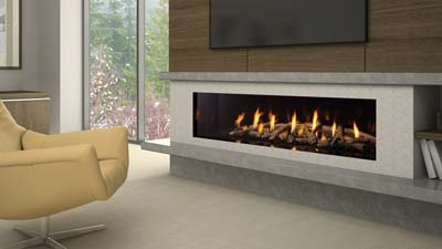 "Extra-Large fireplace with a  72"" linear burner. It has a clean uninterrupted linear view and is zero clearance for design flexibility. Direct Vent and Power Vent are available."