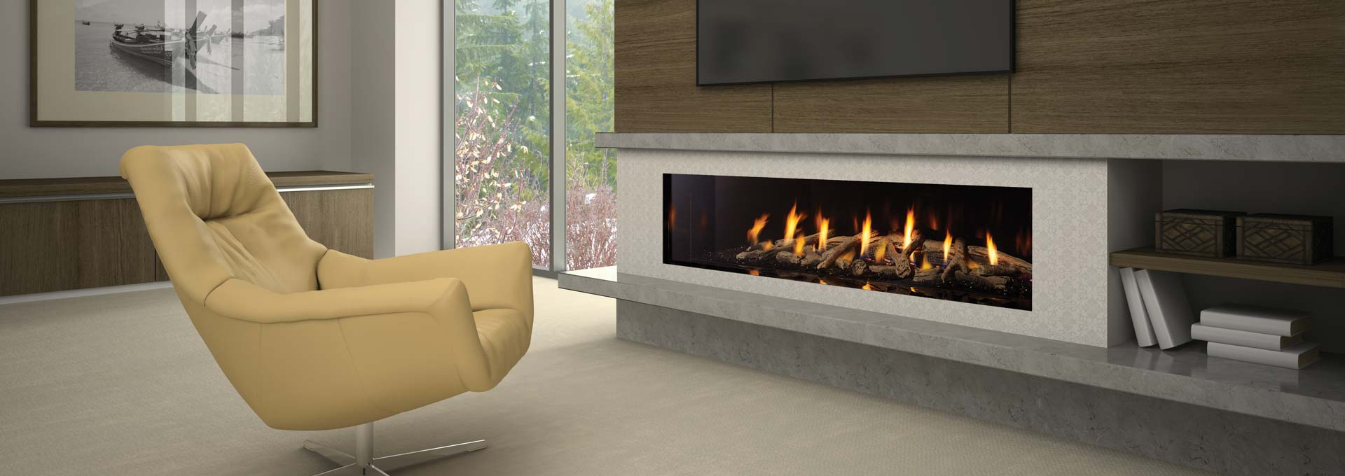 New York 72 Designer Gas Fireplace Regency