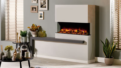 Regency Skope multi-sided electric fireplace can be installed as a three sided bay fireplace or left and right corner.