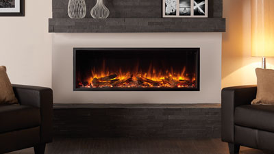 "Regency Skope 53"" single-sided built in electric fireplace heater features Chromalight Immersive LED technology and an assortment of fuel effects."