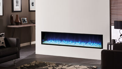 Regency Skope Electric Fireplaces heaters are available in one of four frameless perspectives; a multi-sided fireplace that can be installed as a 3-sided bay or 2-sided corner and a single-sided fireplace in three sizes.