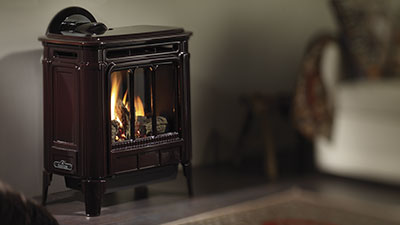 The Hampton Medium Gas Stove's beautiful styling is matched only by its authentic fire.