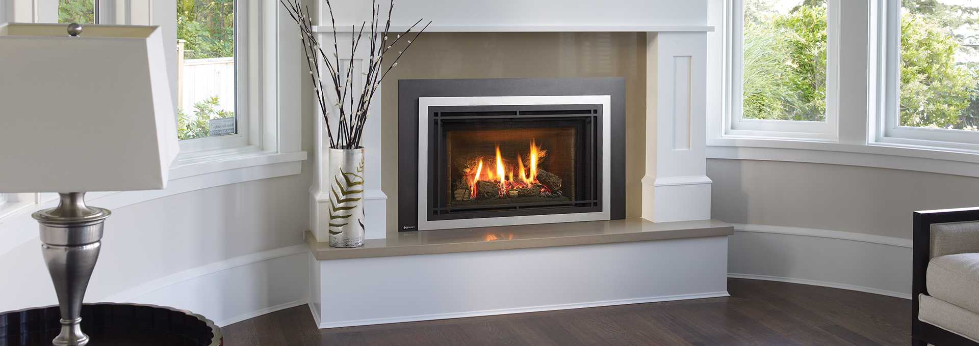 Lovely Energy Efficient Gas Fireplace Inserts Part - 14: Shown With Vignette Faceplate In Platinum, Vignette Craftsman Inlay In  Black And Brown Brick Panels
