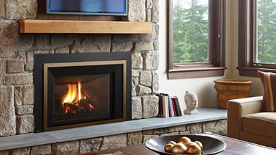 Large gas insert with a traditional log set. The LRI6E has an expansive viewing area and comes with an electronic ignition system,  fan and ceramic glass.
