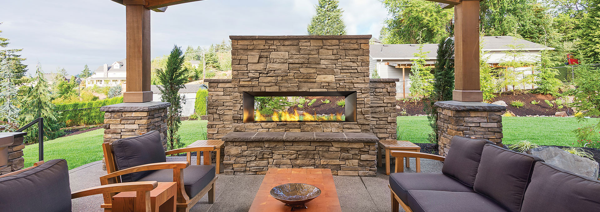 Large Outdoor Gas Fireplace