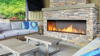 Regency's 60 inch large outdoor fireplace extends your living space and adds to the enjoyment of your patio. Choose from single sided or see-through installation & clean edge installation or use a surround.