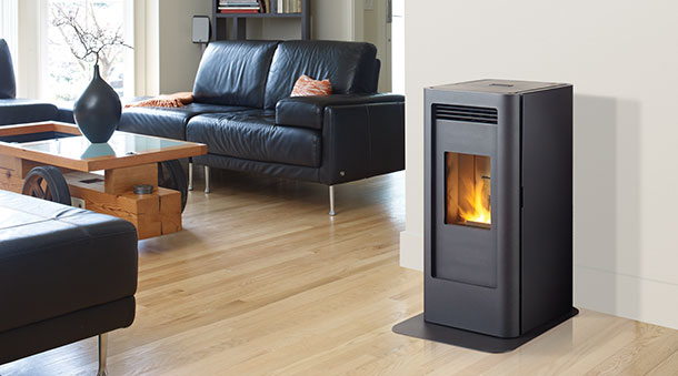 GF40 pellet stove in black with black hearth pad