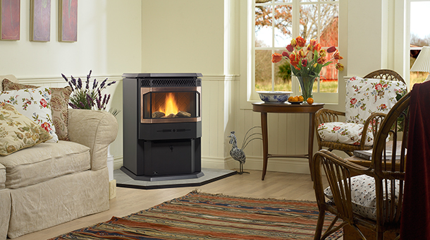 Medium size pellet stove, with a large ceramic bay window.