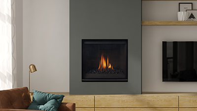"Small 32"" gas fireplace with standing pilot light. Get the look you want with Grandview's mix and match accessories and various framing options including the option to install with cool wall technology."