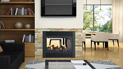 P121 gas fireplace with logs