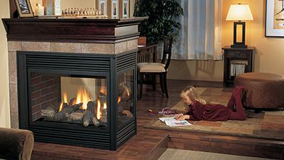 P131 gas fireplace with logs
