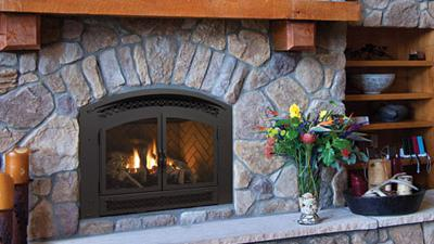 P90 gas fireplace with logs
