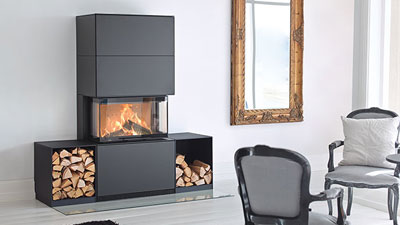 Regency's Contura Wood Fireplace was designed for modern tastes. Our European stylized wood burning fireplace, with a full guillotine, three sided viewing area. EPA Exempt decorative wood burning appliance.