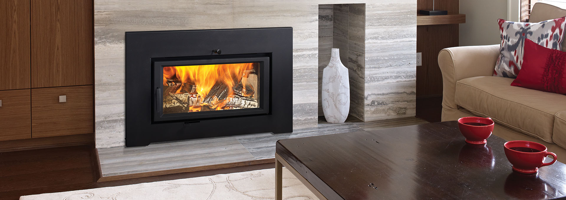 Our favorite fall fireplaces for Modern wood burning insert