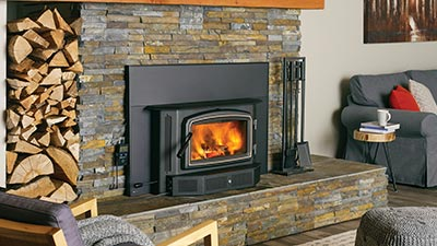 This wood fireplace insert is the perfect size for most spaces.