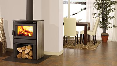 CS1200 wood stove with black side panels