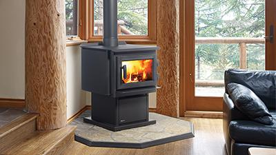 F2400 Wood Stove With Black Pedestal Contemporary Door