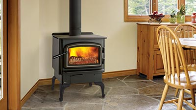 The F2450 is a Medium non-catalytic wood stove, comes with your choice of pedestal or legs and it is available in black or with nickel accents.