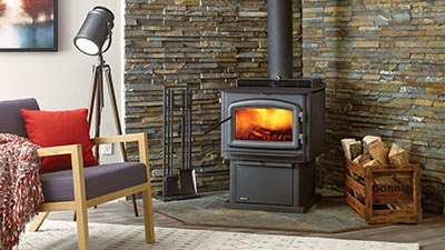 The F2500 is a Medium Hybrid Catalytic wood stove using triple burn combustion technology. It comes with your choice of pedestal or legs and it is available in black or with nickel accents.