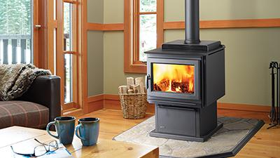 F3500 wood stove with black pedestal & black contemporary door