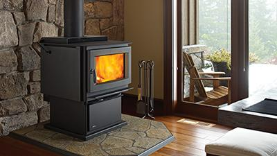 F5100 wood stove with black pedestal & black contemporary door & airmate