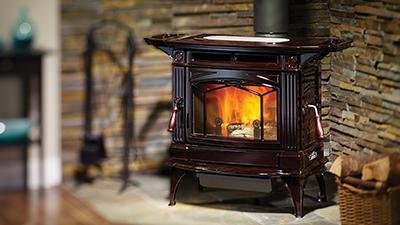 H300 wood stove with side shelves in timberline brown finish