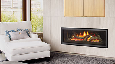 U1500E gas fireplace with clean edge finish