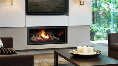 U900E linear contemporary gas fireplace with logs