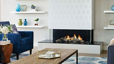 San Francisco Bay 40 multi-sided modern gas fireplace