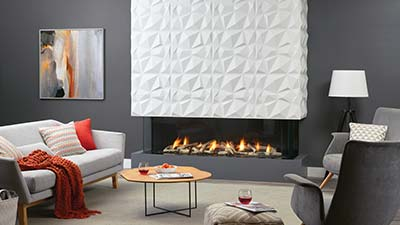 San Francisco Bay 60 3-sided modern gas fireplace