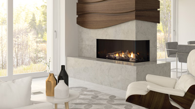 CC40E frameless corner gas fireplace