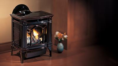 H15 gas stove in timberline brown finish