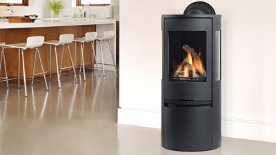 Regency Contura RC500E Freestanding Gas Stove with black door and crystals.