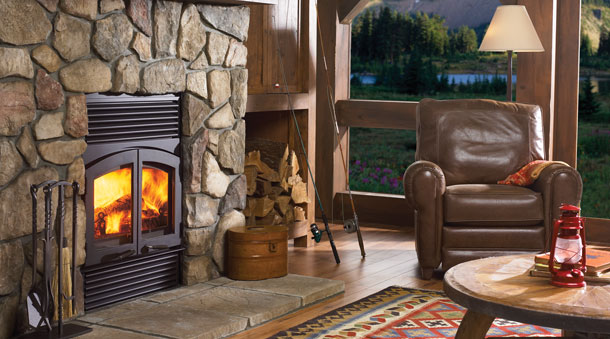 Regency's Large Classic Wood Fireplace was specifically designed for maximum heat output and large viewing area.