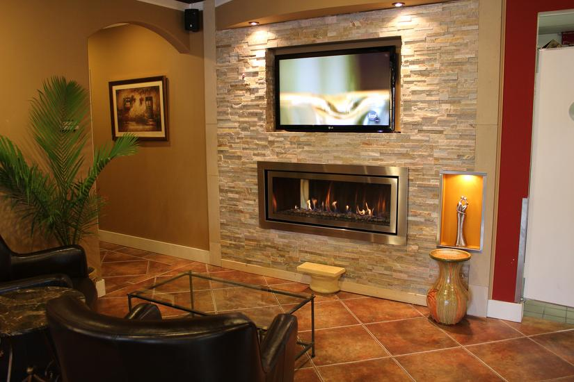Regency Horizon HZ54 gas fireplace finished with stacked stone & Fireplace Design Ideas Photo Gallery - Fireplace Mantels Surrounds ...