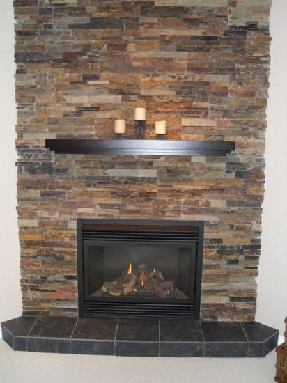 regency p36 gas fireplace shown with stacked stone - Mantel Design Ideas