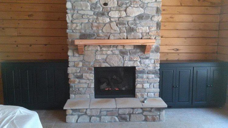 Bellavista B36xtce Gas Fireplace Stone Facing And Custom Cabinets
