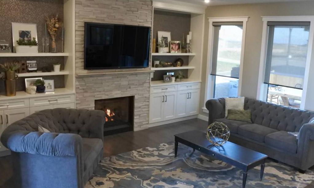 Bellavista B36XTCE Gas Fireplace, Stone Facing, TV And Custom Cabinets