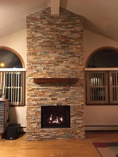 Bellavista B36XTCE gas fireplace, stacked stone wall & ...